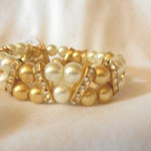 Gold White Beaded Stretch Rhinestones Bracelet